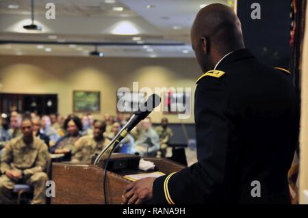 10th Mountain Division Sustainment Brigade Chaplain Maj. James Key delivers an impassioned speech to a full house during Fort Drum's Black History Month observance at the Commons on February 23, 2017. Key's speech focused on this year's theme: The Crisis in Black Education. - Stock Photo