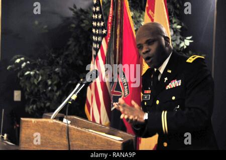 10th Mountain Division Sustainment Brigade Chaplain Maj. James Key addresses a large audience as part of the Fort Drum Black History Month observance at the Commons on February 23, 2017. Key's speech highlighted the 'unsung heroes and sheroes' who pave the way for young African American children to achieve greatness through education. - Stock Photo