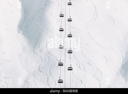 Winter landscape minimal style Funicular Cable cabins and snowy mountain view geometric symmetry background simple design lines and curves ski resort  - Stock Photo