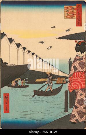 Yoroi-No Watashi Koami-Cho, Yoroi Ferry at Koami District. [Tokyo: Uwoya Yeikichi, 1857], 1 Print: Woodcut, Color, 36 reimagined - Stock Photo