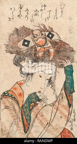 Oharame, Village Girl from Ohara. [Ca. 1799], 1 Print: Woodcut, Color, 18.7 X 10.5, Print Shows the Head-and- reimagined - Stock Photo