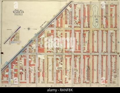 Brooklyn, Vol. 2, Double page Plate No. 17, Part of Ward 25, Section 6, Map bounded by Broadway, Saratoga Ave reimagined - Stock Photo