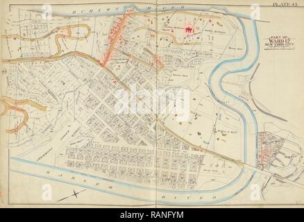 Manhattan, Double Page Plate No. 45 Map bounded by Hudson River, Harlem River, New York, USA. Reimagined - Stock Photo