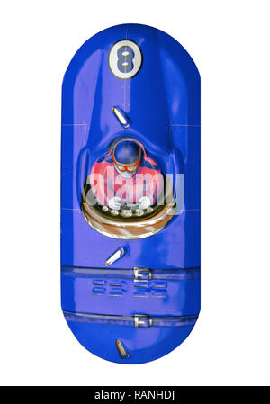 Blue vintage tin toy racing car isolated on white - Stock Photo