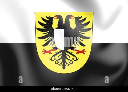 3D Flag of Friedberg (Friedberg in der Wetterau), Hesse. Germany. 3D Illustration.