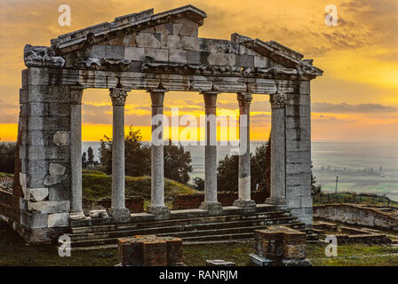sunrise in the ancient city of Apollonia. Albania. Analogue photography - Stock Photo