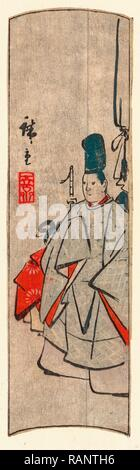Kijin Zu, Court Figure. [Between 1868 and 1894], 1 Print: Woodcut, Color, 20.8 X 5.9, Print Shows a Court Official reimagined - Stock Photo