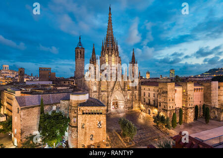 Barcelona night skyline with the gothic Cathedral, Spain - Stock Photo