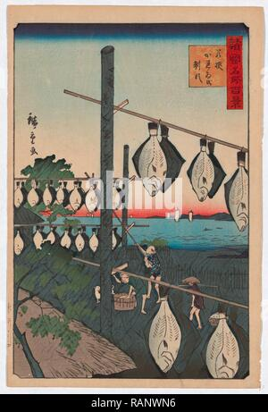 Wakasa Karei O Seisu, Conquered Wakasa Dried Flatfish. 1859., 1 Print: Woodcut, Color, 35.8 X 23.9, Print Shows reimagined - Stock Photo