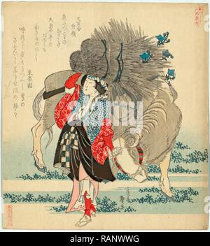 Oharame, Oharame: Village Girl from Ohara. 1829., 1 Print: Woodcut, Color, 20.6 X 18.7, Print Shows an Oharame from reimagined - Stock Photo