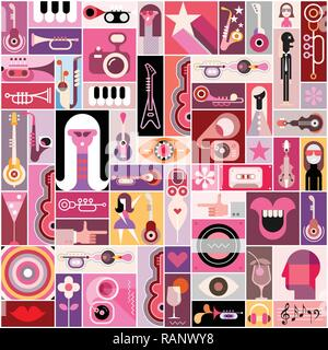 Pop-art musical collage with many various images, vector illustration. Can be used as seamless background. - Stock Photo