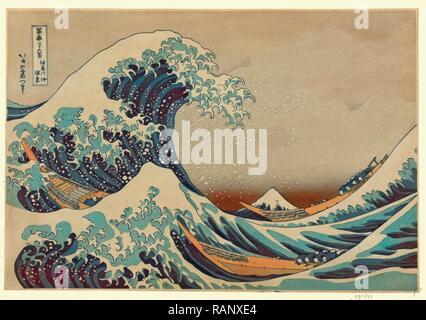 Kanagawa Oki Nami Ura, the Great Wave Off Shore of Kanagawa. [Between 1826 and 1833, Printed Later], 1 Print: Woodcut reimagined - Stock Photo