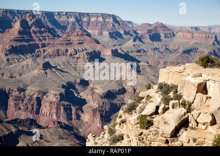 View of the Grand Canyon from Grandview lookout point - Stock Photo