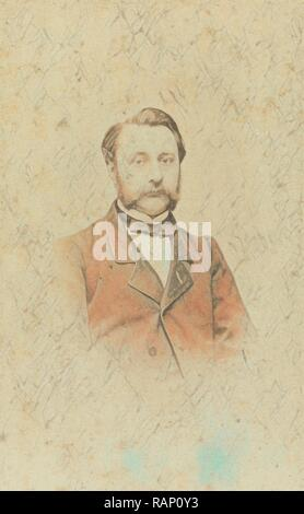 Portrait of a man with mustache, Lambertus Martinus Delboy, 1860 - 1880. Reimagined by Gibon. Classic art with a reimagined - Stock Photo