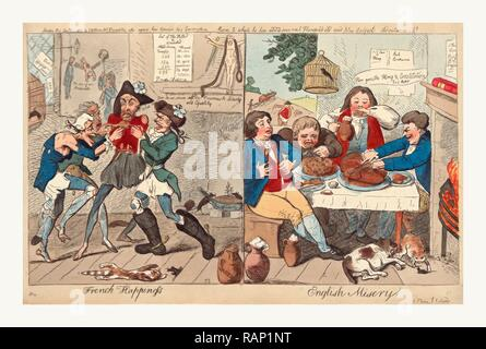 French happiness English misery, Cruikshank, Isaac, 1756?-1811?, engraving 1793, on the left, four ragged and reimagined - Stock Photo