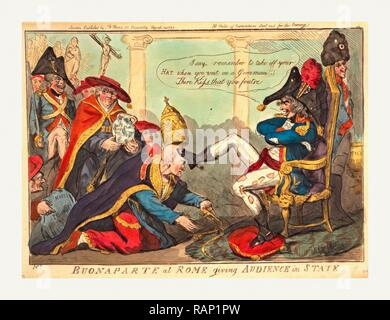 Buonaparte at Rome giving audience in state, Cruikshank, Isaac, 1756?-1811?, engraving 1797, Napoleon, wearing reimagined - Stock Photo