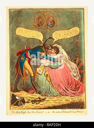The first Kiss this Ten Years! - or - the meeting of Britannia & Citizen Francois, Gillray, James, 1756 1815 reimagined - Stock Photo