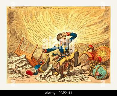 Maniac-raving's or Little Boney in a strong fit, Gillray, James, 1756-1815, engraver, London, 1803, Napoleon in a reimagined - Stock Photo