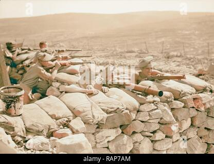 British Military Camp at klm. 41, Lubban-Nablus, Middle East Rd. British troops on observation post with rifles reimagined - Stock Photo