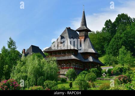 Monastery of Barsana, Iza Valley, Maramures region, Romania, Europe. Kolostorkomplexum a romániai Barcánfalván. - Stock Photo