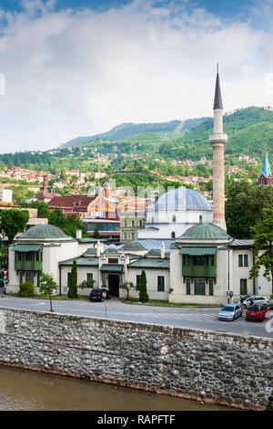 Classical ottoman style Emperor's Mosque or Careva Džamija, Built in 15th century, Sarajevo, Bosnia and Herzegovina - Stock Photo