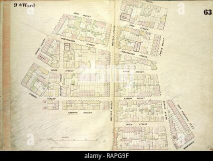 Plate 63: Map bounded by Amos Street, Charles Street, West 4th Street, West Washington Place, Sixth Avenue Cornelia reimagined - Stock Photo