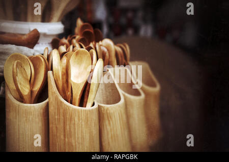 Middle Eastern Traditional Brown Wooden Spoons in Bazaar - Stock Photo