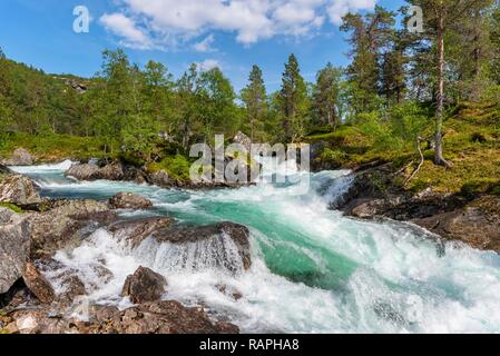 A stream flowing on stones in a mountain valley covered with pine trees in spring colors under a blue sky. Norway, around Vik - Stock Photo