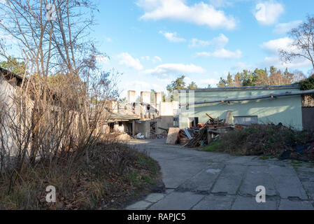 Prerow, Germany - December 30, 2018: View of the decaying buildings of the former training centre of the GDR Society for Sport and Technology (GST) in - Stock Photo