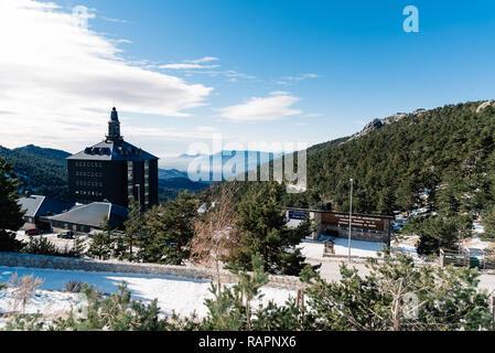 Navacerrada, Spain - December 7, 2017: Sky resort in Guadarrama mountain range at winter time - Stock Photo