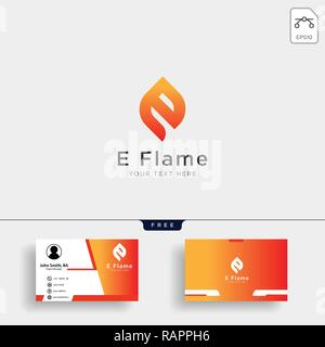 Letter E flame logo template with business card - Stock Photo