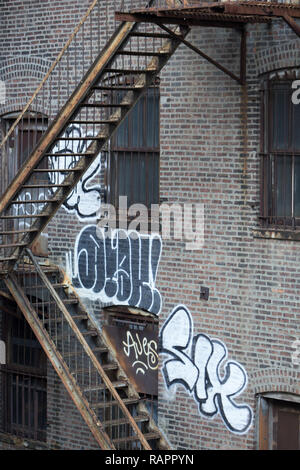 Detail of Fire stairs in New York City. - Stock Photo