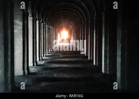 The Deep Tunnel Structure Corridor. I took that Shot in Frankfurt Cemetery Entrance. - Stock Photo