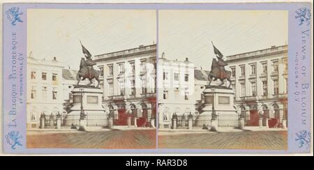 Brussels, The Statue of Godfrey of Bouillon by Simonis, on the Place Royale, Jules Queval, 1860-1880. Reimagined - Stock Photo