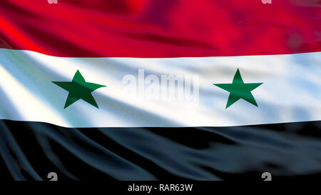 Syria flag. Waving flag of Syria 3d illustration. Damascus - Stock Photo