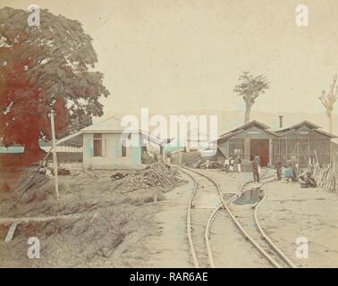 Spoorwegstation Kraton te Kota Radja, het huidige Banda Aceh. Anonymous, 1870 - 1900. Reimagined by Gibon. Classic reimagined - Stock Photo