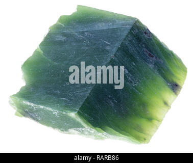 macro photography of natural mineral from geological collection - slab of green Nephrite (jade) stone on white background - Stock Photo