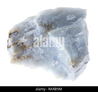 macro photography of natural mineral from geological collection - rough Angelite (Blue Anhydrite) stone on white background - Stock Photo