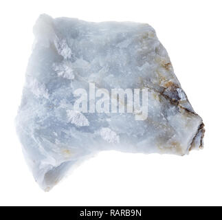 macro photography of natural mineral from geological collection - raw Angelite (Blue Anhydrite) stone on white background - Stock Photo