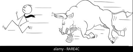 Cartoon of Businessman Running Away From Angry Bull as Rising Market Prices Symbol - Stock Photo