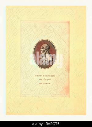 Oval head-and-shoulders profile portrait of French balloonist and parchutist A.J. Garnerin. Reimagined - Stock Photo