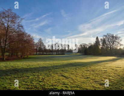 Looking down an empty Fairway at Letham Grange Golf Course in Colliston near Arbroath, on one bright, frost Morning in January. - Stock Photo