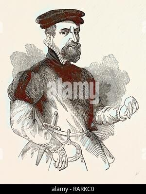 Portrait Sir Thomas Gresham, English merchant and financier, London, England, engraving 19th century, Britain, UK reimagined - Stock Photo
