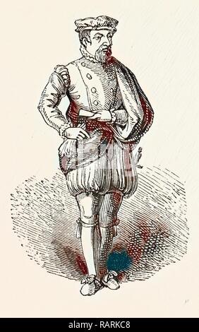Statue Sir Thomas Gresham, English merchant and financier, London, England, engraving 19th century, Britain, UK reimagined - Stock Photo