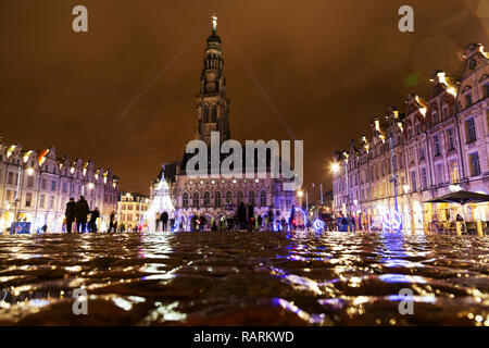 The town hall and Heroes Square (Place des Héros) in Arras, France. The town hall and belfry is a UNESCO World Heritage Site. - Stock Photo