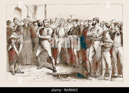 BRITISH ATHLETIC SPORTS AT ALEXANDRIA, EGYPT, 1876. Reimagined by Gibon. Classic art with a modern twist reimagined - Stock Photo