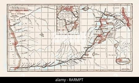 Lake Tanganyika On A Map Of Africa.Lieutenant Cameron S Map Of Central Africa Showing His Line Of