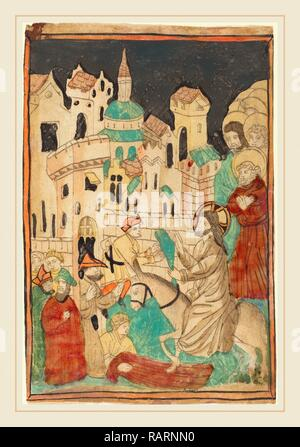 German 15th Century, Christ's Entry into Jerusalem, probably 1450, woodcut in light brown, hand-colored in red lake reimagined - Stock Photo