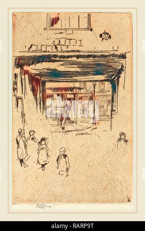 James McNeill Whistler (American, 1834-1903), Drury Lane, c. 1880-1881, etching. Reimagined by Gibon. Classic art reimagined - Stock Photo