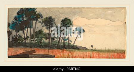 Winslow Homer, Palm Trees, Red, American, 1836-1910, 1890, watercolor over graphite. Reimagined by Gibon. Classic art reimagined - Stock Photo